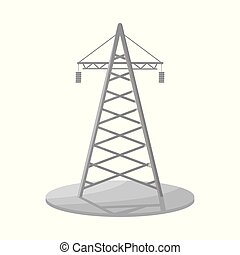Isolated object of tower and transmission symbol. Set of tower and voltage vector icon for stock.