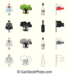 Isolated object of traditional and tour logo. Set of traditional and landmarks stock vector illustration.