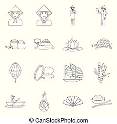 Isolated object of traditional and travel symbol. Set of traditional and landmark stock vector illustration.