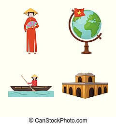 Isolated object of travel and country sign. Set of travel and culture vector icon for stock.