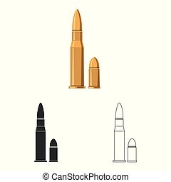 Isolated object of weapon and gun sign. Collection of weapon and army vector icon for stock.