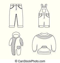 Isolated object of wear and child symbol. Collection of wear and apparel vector icon for stock.
