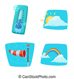 Isolated object of weather and climate sign. Collection of weather and cloud bitmap icon for stock.