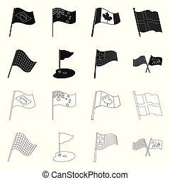 Isolated object of world and flag icon. Collection of world and ribbon vector icon for stock.