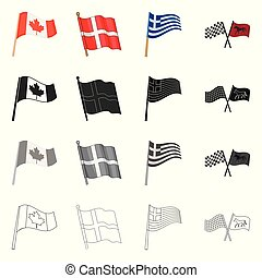 Isolated object of world and flag icon. Set of world and ribbon vector icon for stock.