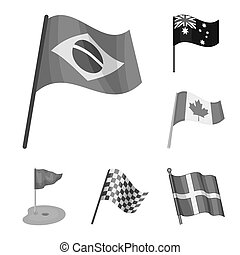 Isolated object of world and flag symbol. Collection of world and ribbon stock symbol for web.