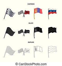 Isolated object of world and flag symbol. Collection of world and ribbon vector icon for stock.