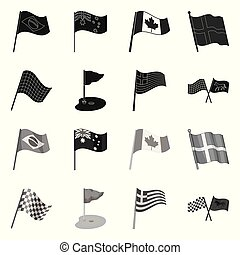 Isolated object of world and flag symbol. Set of world and ribbon stock symbol for web.