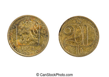 coins Czechoslovakia - isolated object on white - coins ...