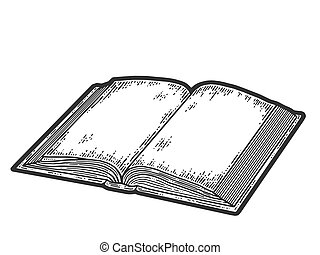 Isolated objects, open book. Sketch scratch board imitation. Black and white. Engraving vector illustration.