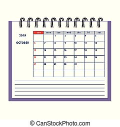 isolated October page 2019 planner calendar