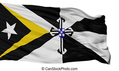 Isolated Oecusse city flag, East Timor - Oecusse flag, city...