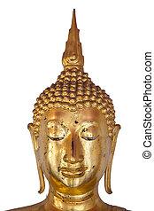 Isolated of buddha head on white background