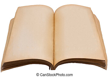 Isolated of old book on white backg