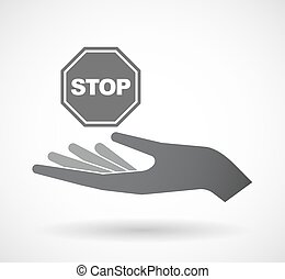 Isolated  offerign hand icon with  a stop signal