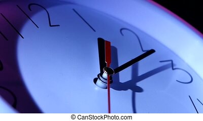 isolated office clock on white background. Vector blue...