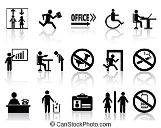office sign icons set - isolated office sign icons set from ...