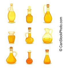 Isolated oil liquid in bottle or jar. Oily drink