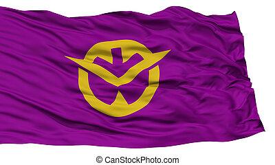 Isolated Okayama Japan Prefecture Flag, Waving on White ...