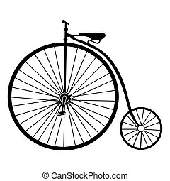 Isolated old bicycle silhouette