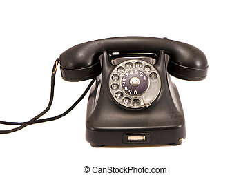 isolated old black telephone