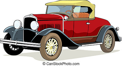 isolated old car - fully editable vector isolated old car...