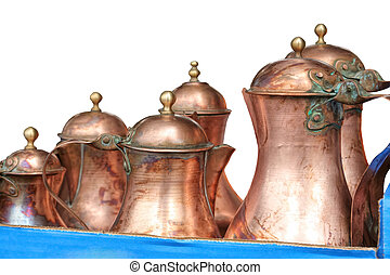 isolated old copper pitcher on white background