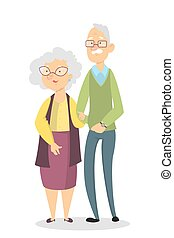 Isolated old couple.