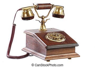 isolated old-fashioned phone