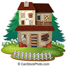 Isolated old house on white background