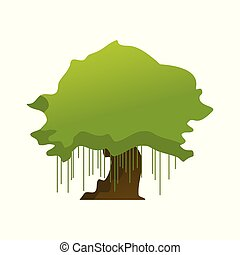 Isolated Old Oak Tree Plant Illustration