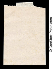 Isolated old piece of paper stuck to a black background.