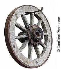 isolated old wooden wheel