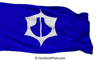 Isolated Omihachiman city flag, prefecture Shiga, Japan -...