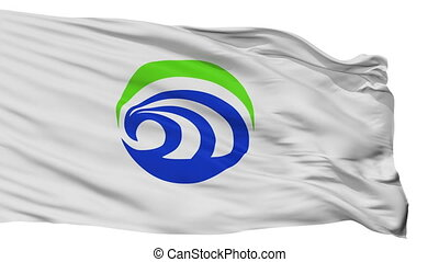 Isolated Omitama city flag, prefecture Ibaraki, Japan -...