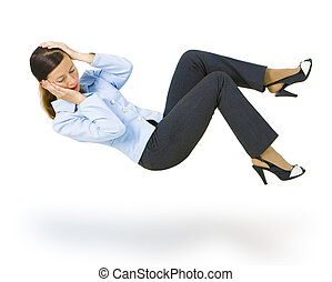 isolated on a white background young woman in a business suit falls down