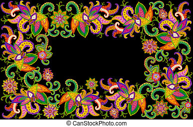Isolated on black floral  frame in the Persian  style