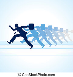 Isolated on businessman running in format