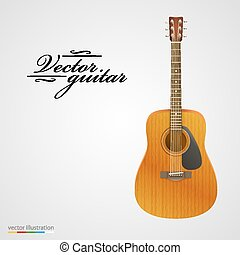 Isolated on white acoustic guitar.