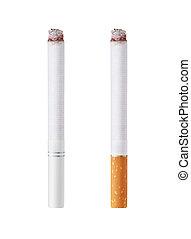 Isolated on white background burning cigarettes with orange ...