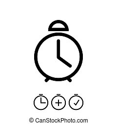 Isolated on white background. Clock Thin Line Icon.