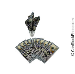 isolated on white background Dollars in a glass, a symbol of the crisis, venality, wealth