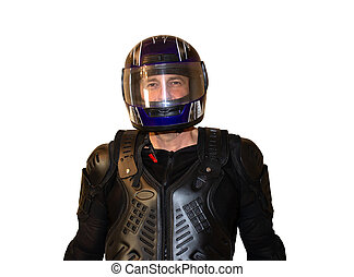 Isolated on white background man motorcyclist in a helmet Black jacket, protection and biker gloves