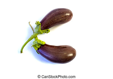 Isolated on white background Two eggplants