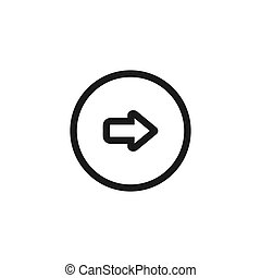 Isolated on white background.Right Rounded Arrow vector icon.