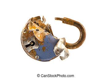 isolated on white broken old lock