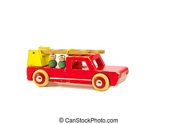 isolated on white fire-engine wooden toy