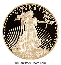 Gold Coin American Eagle Proof 1 oz - Isolated on white,...