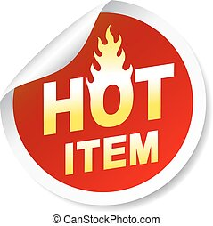 Isolated on white hot item sticker, badge with flame
