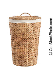 laundry basket made of rattan - Isolated on white laundry ...
